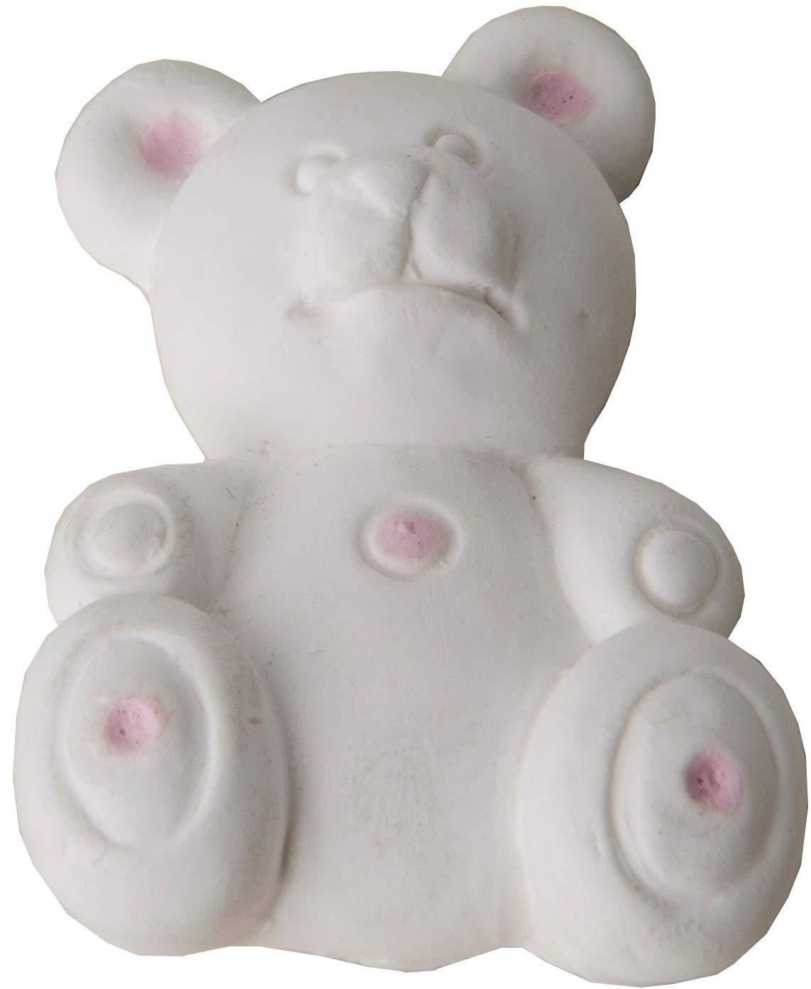 Ositos de yeso blanco con detalles rosa para bebés, se pueden perfumar, como regalo para invitados en nacimientos, bautismo o comunión