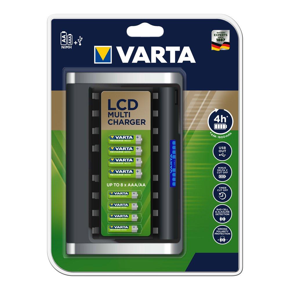 VARTA LCD Multi Charger - Cargador de Pilas NiMH AA y AAA, 8 Ranuras