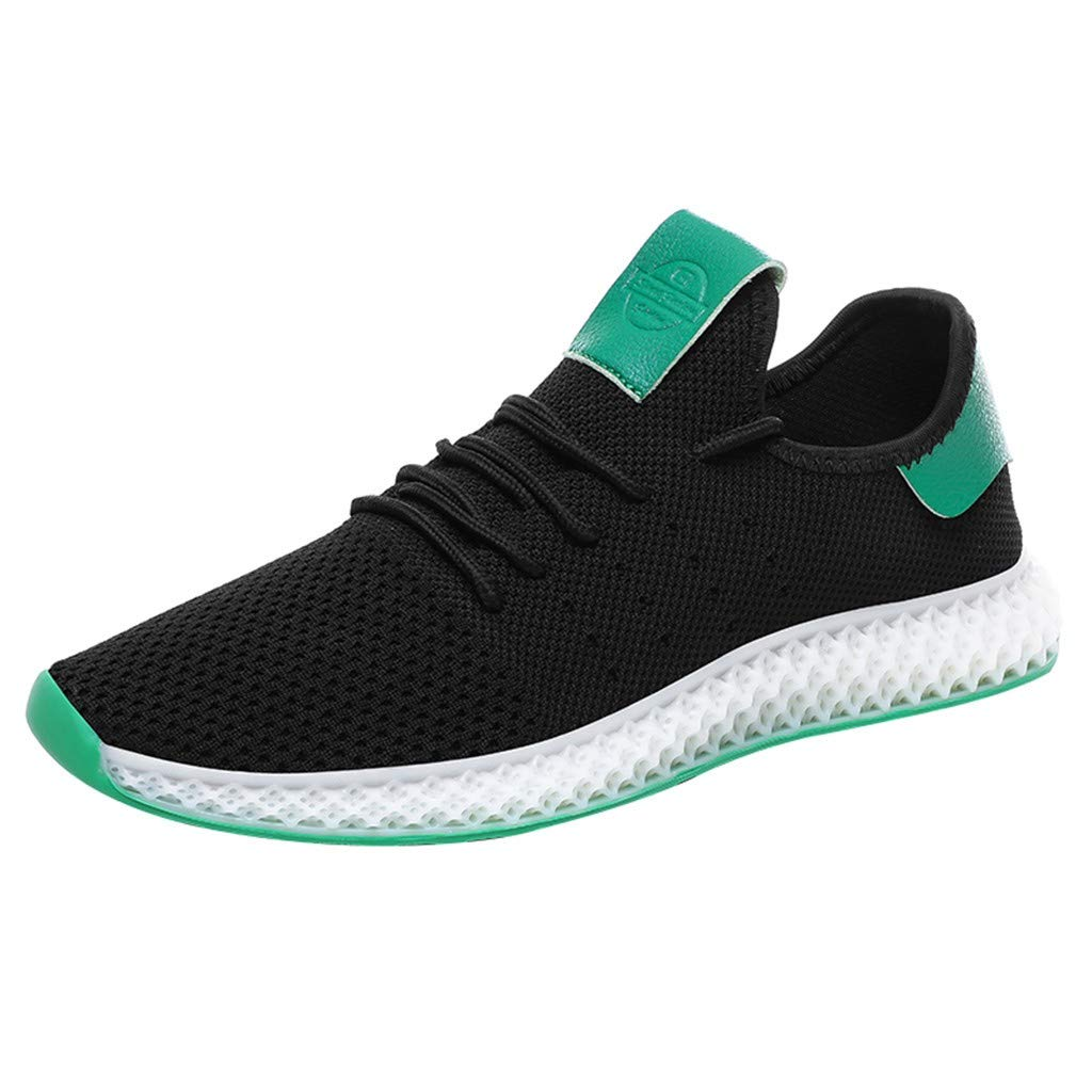 refulgence Men's Solid Color Matching Mesh Breathable Sneakers Casual Wild Running Shoes(Black,US:8) by refulgence