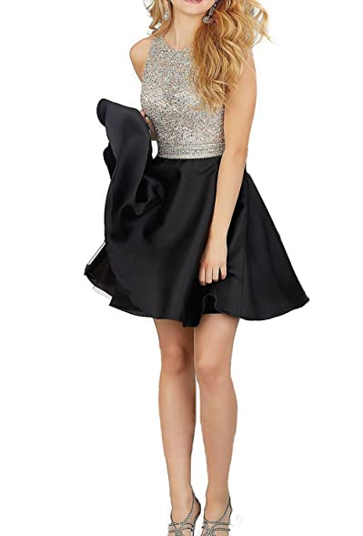 2017 Womens Short Beading Prom Dress Halter Homecoming Dress for Junior