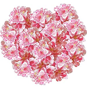 Hukidoy Artificial Hydrangea Heads Fake Silk Flowers Faux Floral for Home Party Wedding Decor, Pack of 10 (Pink) 43