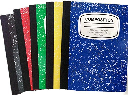 Marbled Composition Notebooks Wide Ruled 100 Page 5color-5pack Bundle