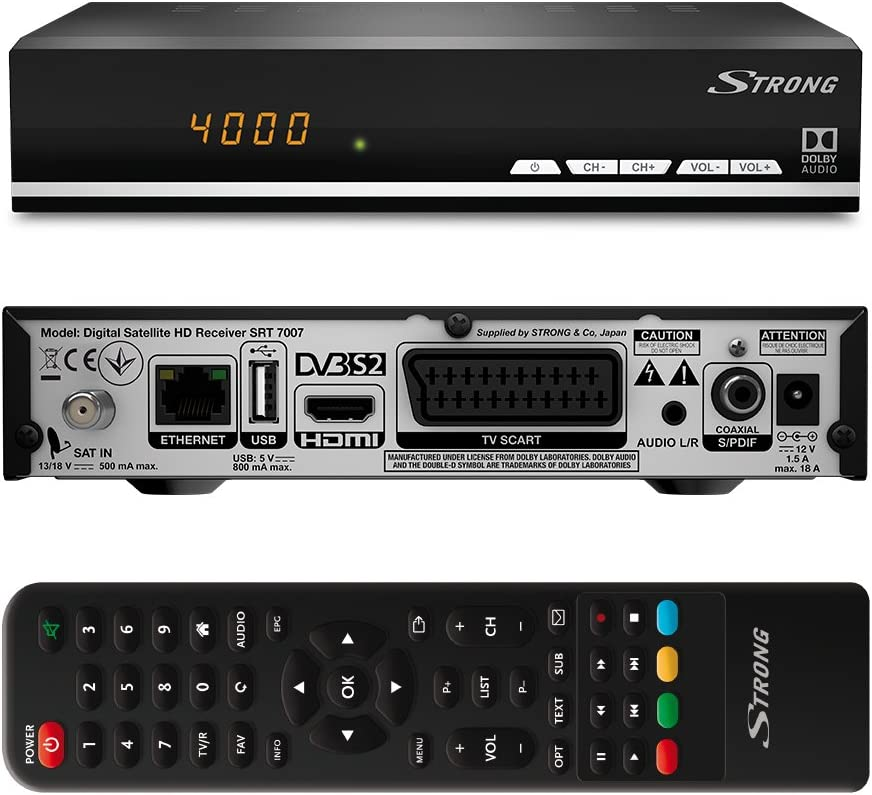 Strong Srt 7007 Digital Hd Satellite Receiver With Display Free To Air Hdtv Hdmi Ethernet Usb Media Player Scart Black Home Cinema Tv Video
