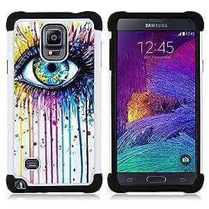"""Samsung Galaxy Note 4 IV / SM-N910 - 3 en 1 impreso colorido de Altas Prestaciones PC Funda chaqueta Negro cubierta gel silicona suave (Azul Crayon fusión del color del arco iris"""")"""
