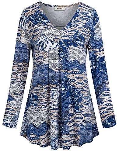BEPEI Floral Blouses for Women,Long Sleeve Modern Slouchy Chic Style Sexy Shirt Lovely Modest Draped Flounced Hemline Flowing Tunic Top Spring Pretty Cute Outfit for Teen Girls Blue Beige L
