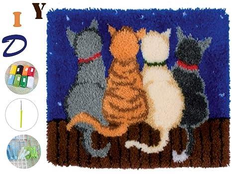 Beyond Your Thoughts Knüpfteppich für Kinder und Erwachsene zum Selber  Knüpfen Katze Teppich Latch Hook Kit Child Rug Cat 285 53 * 38 cm