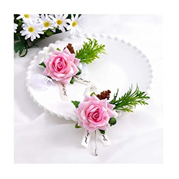 Wedding artificial  vintage pink rose  Buttonholes corsages set of 8