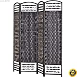 COLIBROX-67 Folding Woven Room Divider 4 Hinged Panel Privacy Screen Freestanding Black,folding screen room divider,cheap folding screen,room dividers home depot,cheap room divider
