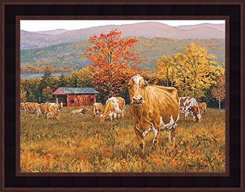 Autumn's Gold by Bonnie Mohr 15x19 Cow Cattle Fall Leaves Colors Barn Farm Framed Art Print ()