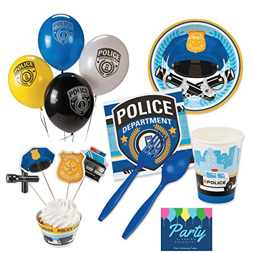 [Police Party Supplies - Tableware for 16 Guests + Decorations - Plates, Napkins, Plasticware, Cups] (Police Officer Party Supplies)