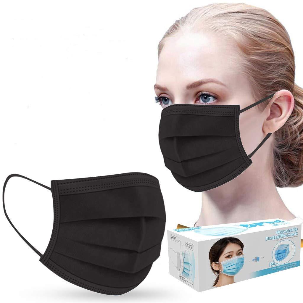 es 50PCS Protección Tres Capas No Tejida Transpirables con Elástico Banda para Los Oídos, Adulto, Morado Negro Pack 50 Unidades