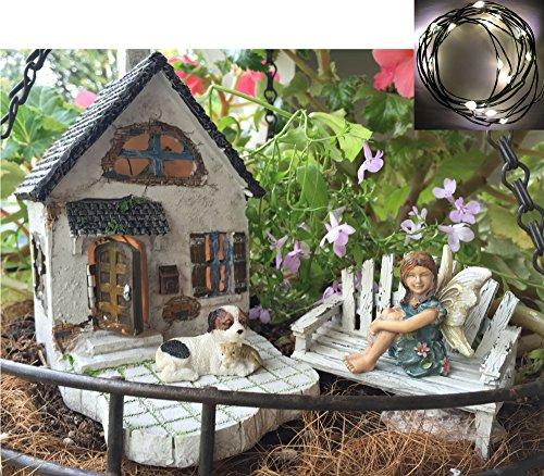 Fairy Garden Kit with Fairy Lights: House with Patio, Sitting Fairy, Dog, Cat, and Loveseat bench, Indoor or outdoor 5 piece deluxe set