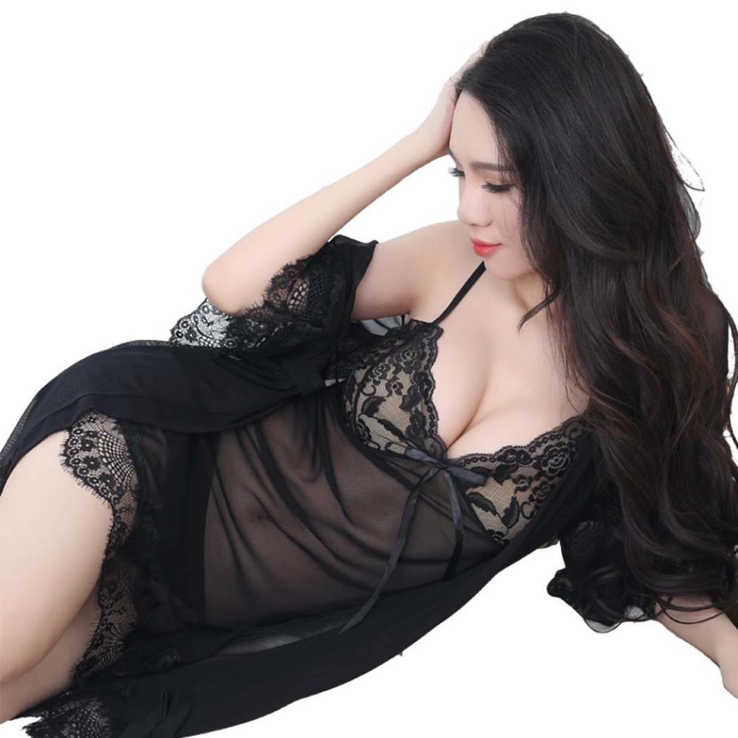 Challyhope Hot Sale! 3PC Women Sexy Lingerie Bodydoll Lace Alluring Halter Sleepwear Sets+Thong (Black, XL)
