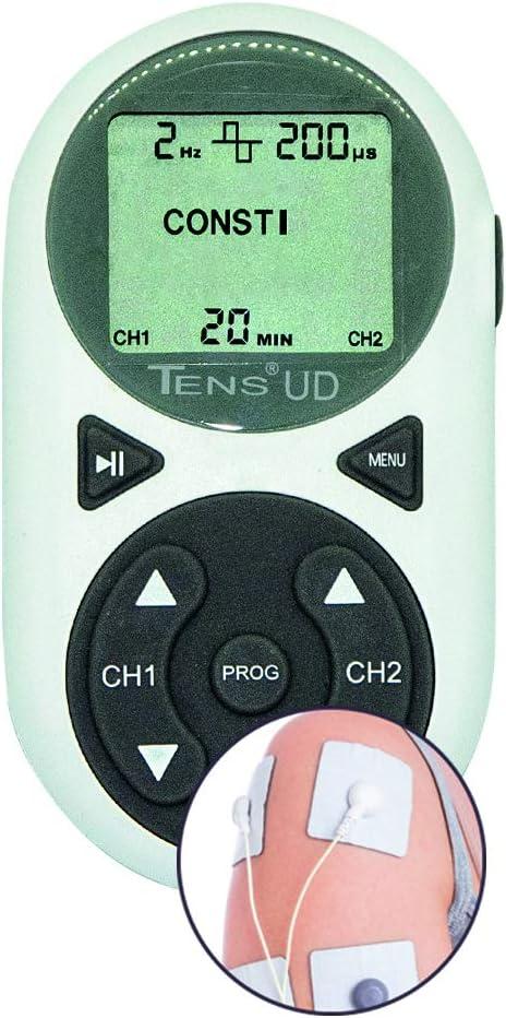 Electroestimulador Analgésico Digital TENS UD | 10 programas | Dolor de Espalda, Artrosis, Cervicalgias, Tortícolis, Artritis, Ciática, Lesiones Deportivas, Tensión Muscular, Postoperatorios