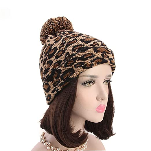 d6caae3b708 Image Unavailable. Image not available for. Color  Allywit Women Leopard  Faux Fur Ball Winter Warm Crochet Knitted Hat ...
