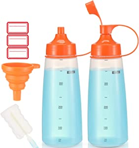 Condiment Squeeze Bottle Wide Mouth, Ondiomn 2 Pack 400ml Empty Reusable Squeeze Bottles for Honey,Batter,Catsup,Onion,Resin,Baking,Expoxy,Relish, BPA Free-Food Grade