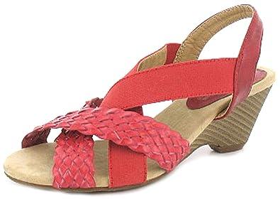 538ed559002 Comfort Plus Womens Ladies Red Peep Toe Wedge Fitting Sling Backs - Red - UK