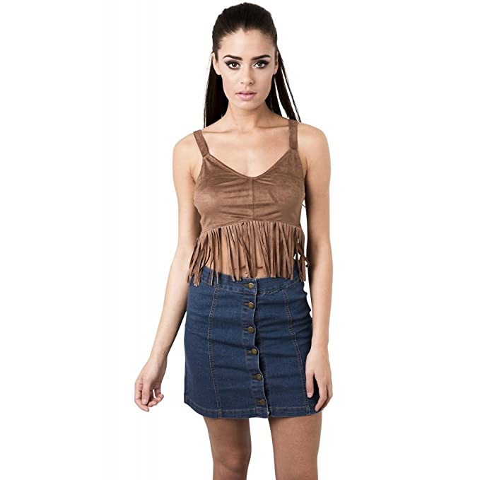 4b6e741c7d1c4 Amazon.com  Miss Foxy Women s Suede Fringed Crop Top in Camel  Clothing