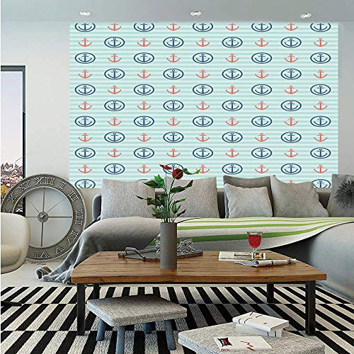 Anchor Huge Photo Wall Mural,Summer Holiday Adventure Horizontal Striped Backdrop with Icons Bon Voyage Decorative,Self-adhesive Large Wallpaper for Home Decor 100x144 inches,Seafoam Blue Coral