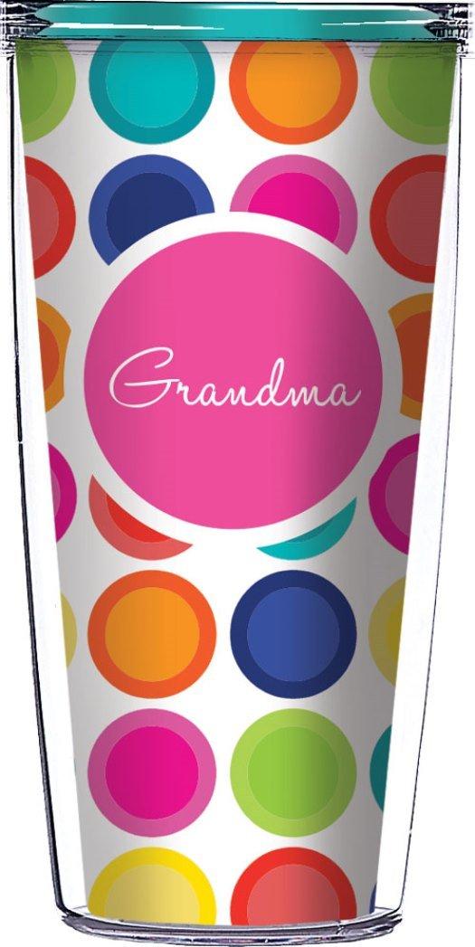Grandma On Happy Circles Clear Traveler 16 Oz Tumbler Cup Signature Tumblers COMINHKPR77213