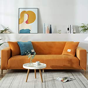 ZPEE Plush Sofa Covers for 1 2 3 4 Cushion Couch,dust-Proof Velvet Stretch Couch Cover,Recliner Chair Cover Furniture Sofa Protector Orange 3-seat/190-230cm