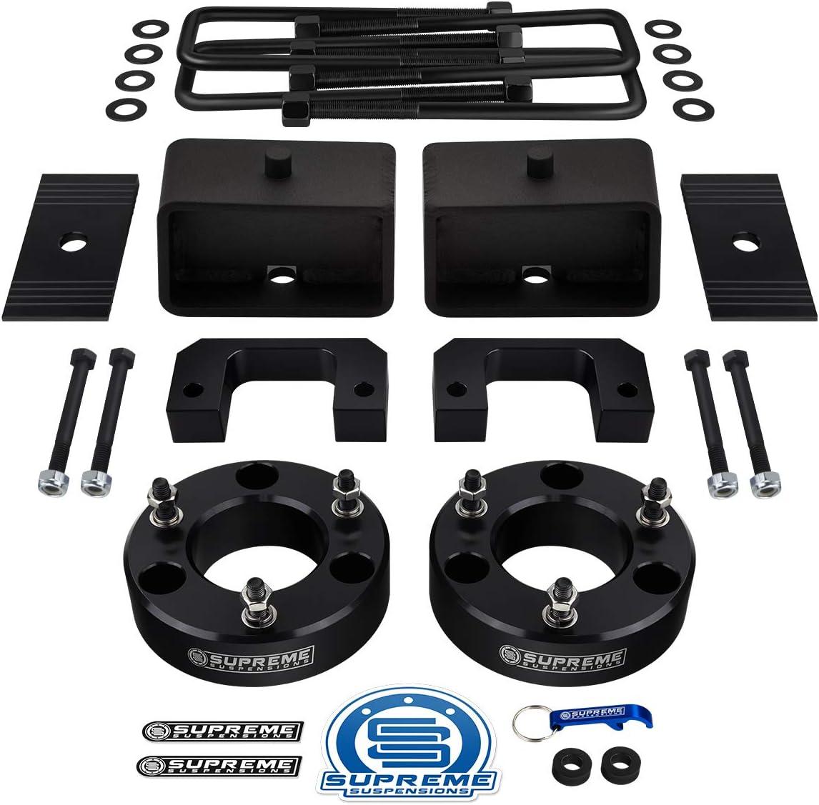 "Supreme Suspensions - Full Lift Kit for 2007-2020 Silverado Sierra 1500 3.5"" Front Lift Strut Spacers + 3"" Rear Lift Blocks + Square Bend U-Bolts + Axle Alignment Shims (Black)"