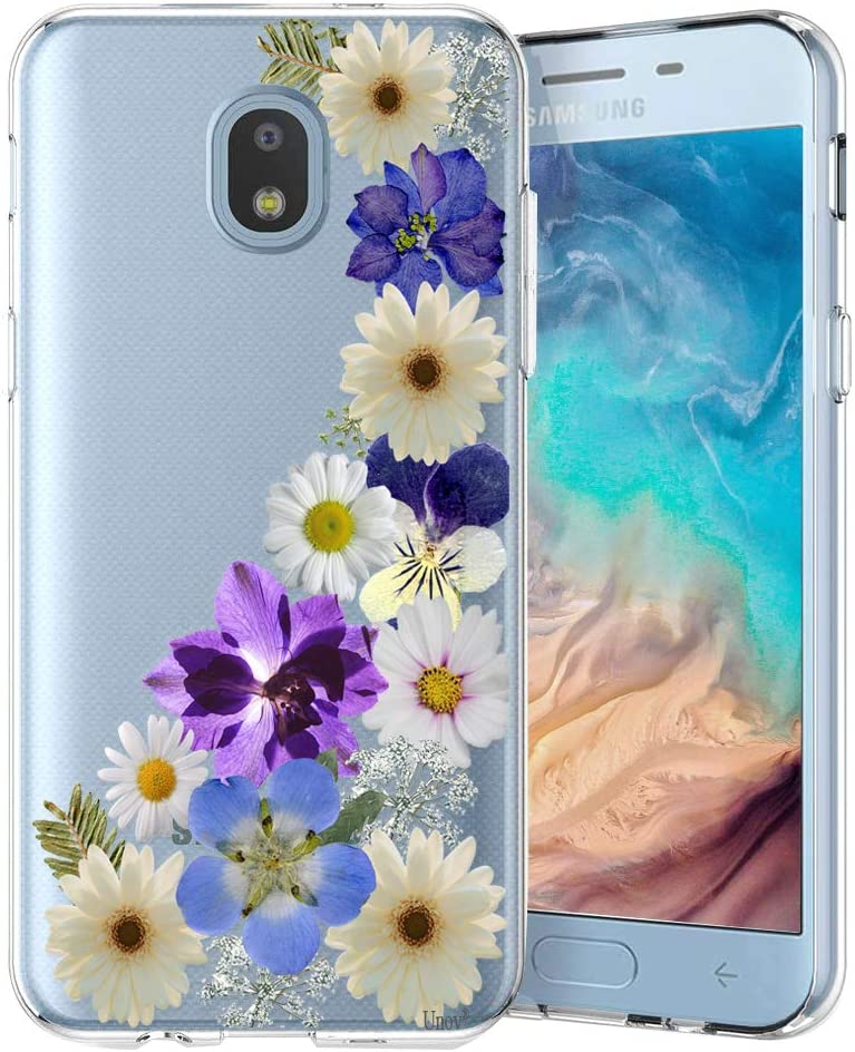 Unov Case Clear with Design for Galaxy J7 2018 Slim Protective Soft TPU Bumper Embossed Pattern for Galaxy J7 Crown J7 Refine J7 Star J7 V J7V 2nd J7 Aero J737V (Flower Blossom)