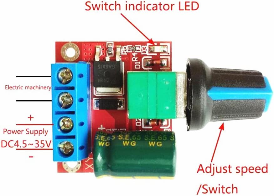 Aideepen 5PCS DC Motor Speed Control Driver Board 4.5V-35V 5A PWM Controller Stepless DC 4.5V-35V Variable Voltage Regulator Dimmer Governor Switching Build with LED Indicator and Switch Function