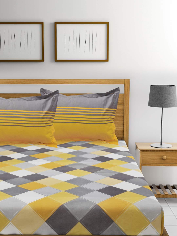 अहमदाबाद कॉटन 144 टीसी 100% कॉटन डबल बेडशीट 2 तकिया कवर के साथ – पीला और ग्रे