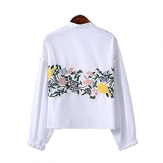 Sweet Flower Pattern Embroidery Stand Collar Pullover Fashion Women Shirt Ruffles Long Sleeve Lolita Style Blouse Tops White at Amazon Womens Clothing ...