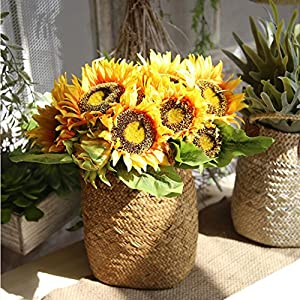 Simulation Flower, Lotus.flower 7 Heads Artificial Sunflower Fake Floral Leaves Wedding Party Home Decor 64