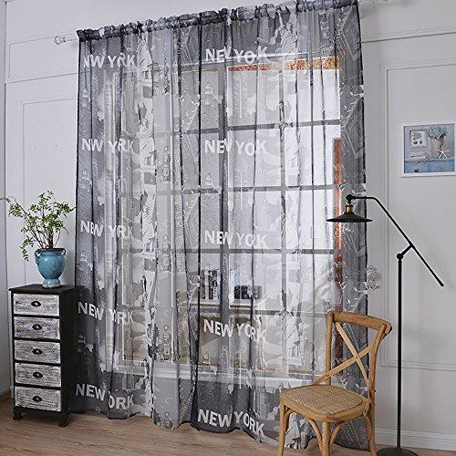 ChezMax Print Pattern Rod Pocket Window Treatment Drape Panel Voile Sheer Curtain 57