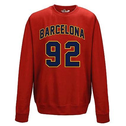 2455506054204 KiarenzaFD Sueter de Cuello Redondo Sudadera Hombres Barcelona 92 Red XXL