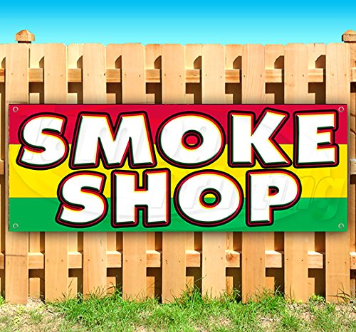 Smoke Shop 13 oz Heavy Duty Vinyl Banner Sign with Metal Grommets, New, Store, Advertising, Flag, (Many Sizes Available) (The Best Smoke Shop)