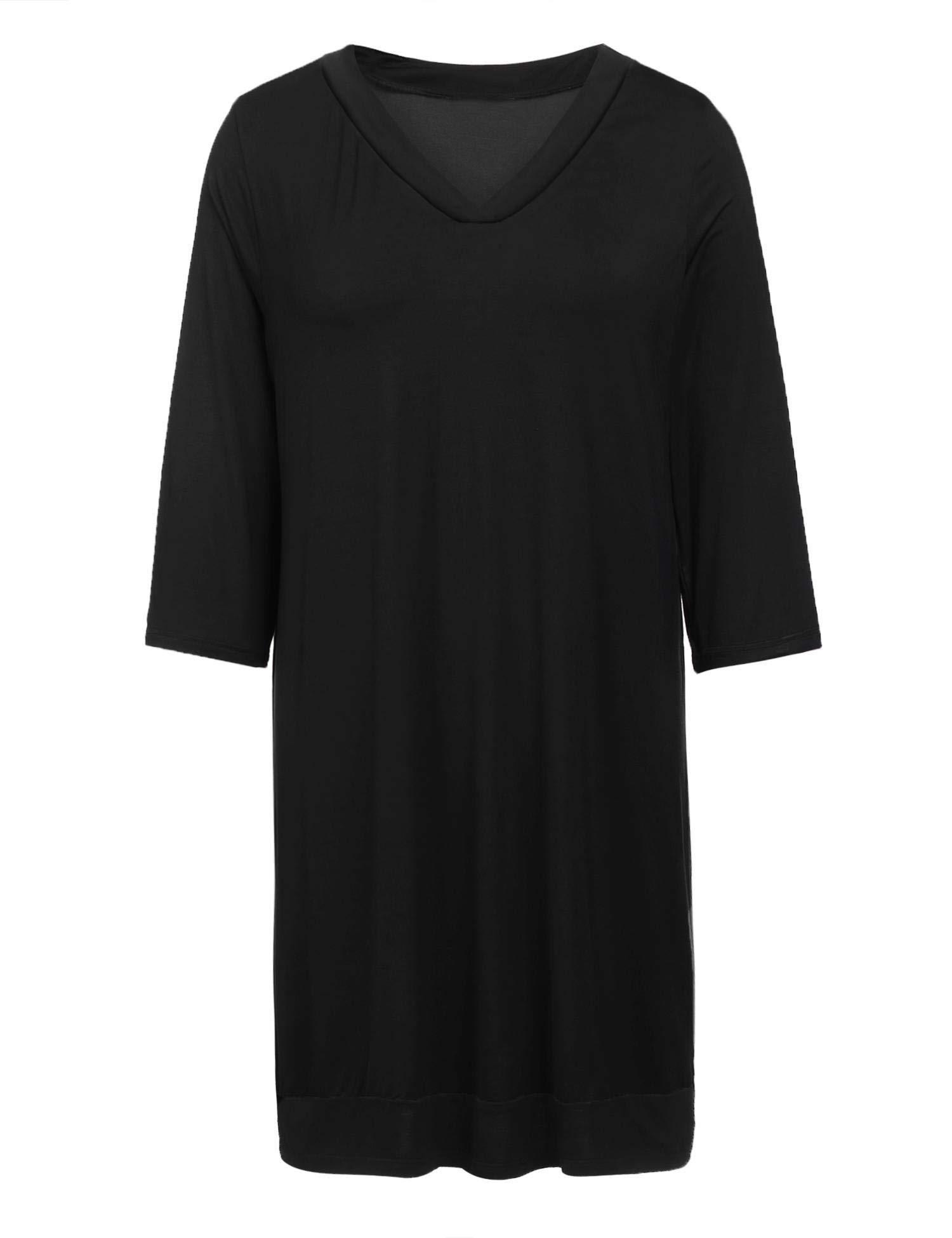 f01c2e3ae9 Langle Womens Pajama Dress Cotton Sleepwear Plus Size Solid Nightshirt  (Black