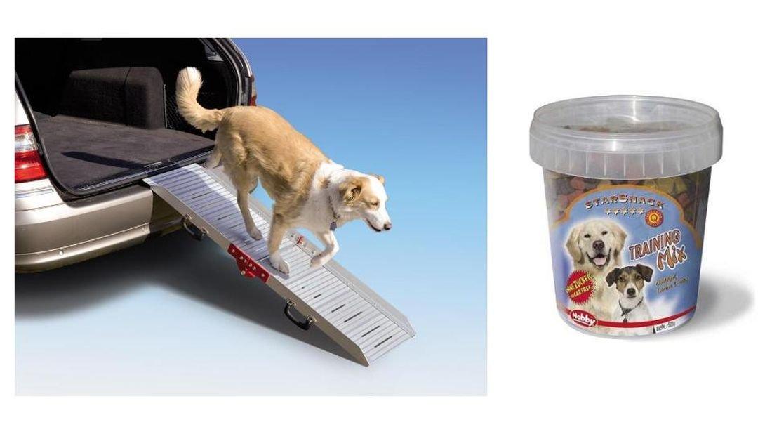 Alu-Hunderampe mit 500 g Trainings-Leckerlie zum Üben Autorampe Einstiegshilfe Ausstiegshilfe Hundetreppe Rampe für Hunde Gangway Aluminium