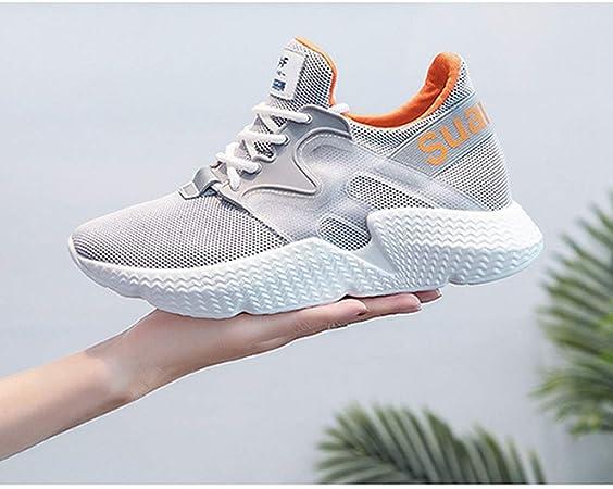 DOSOMI - Zapatillas Deportivas de Mujer con Plataforma de Malla con Cordones para Mujer, Color Rosa, Negro, Plateado, Blanco: Amazon.es: Deportes y aire libre