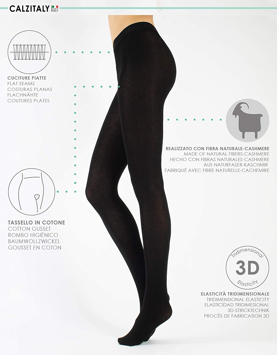 Womens Knit Cashmere Wool Tights Opaque Thick WarmWinter