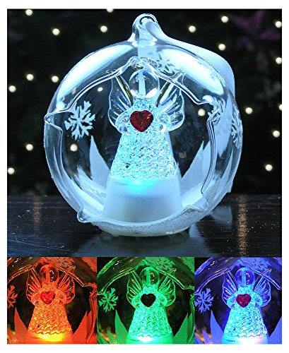 LED Glass Globe Christmas Ornament Angel with Red Heart and Hand Painted Glittery Snowflakes – Color Changing Lights
