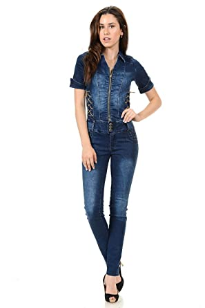 c91890ca6e8e M.Michel Women s Jumpsuits   Rompers - Push Up Jeans - Style N1088 - Blue