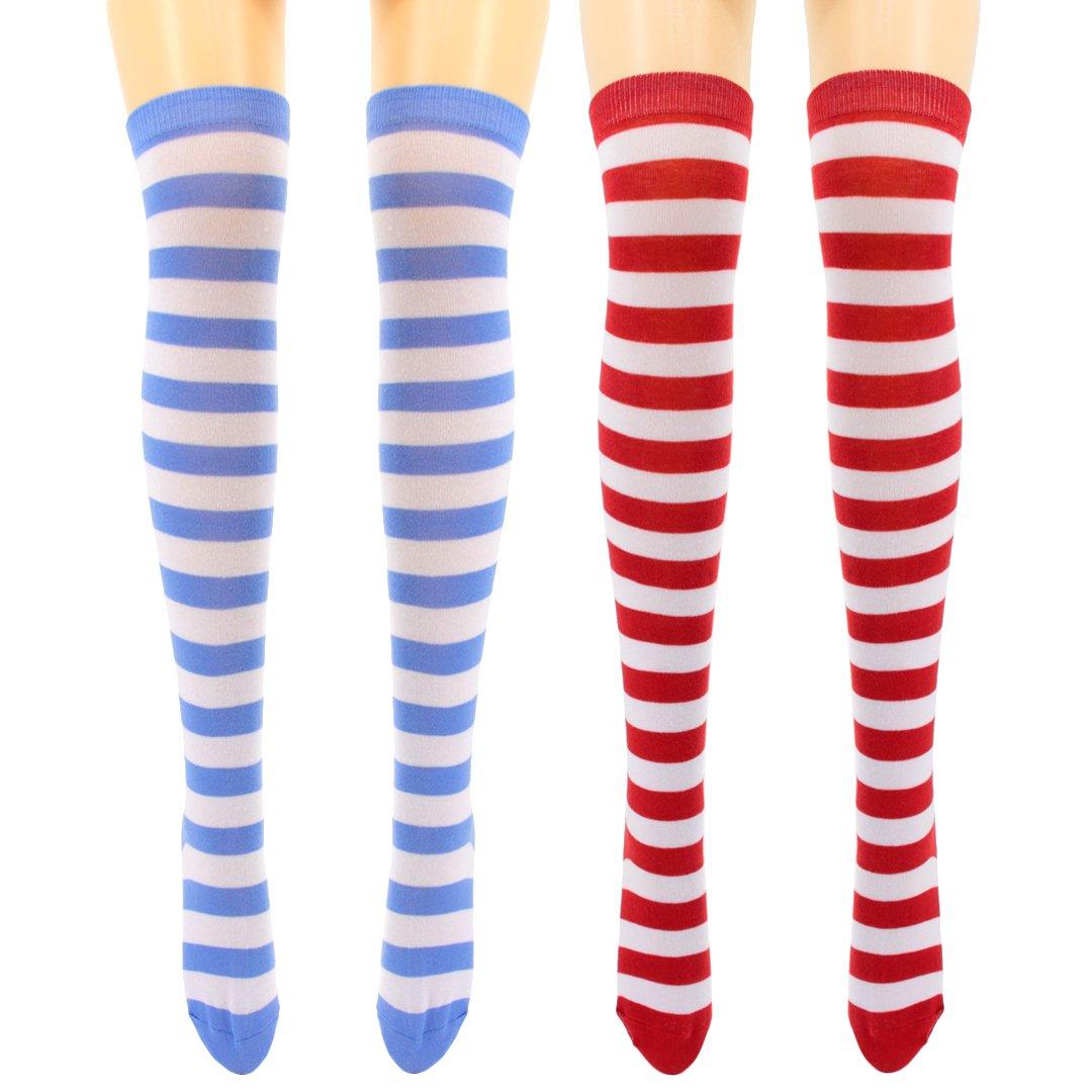 Mocure Women's Multicolored High Knee Elastic Wool Knitted Crochet Socks Trim Tube Long Socks Leg WarmerSocks(2 In 1 Package)