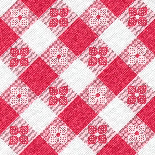 Tavern Check Heavyweight Vinyl Tablecloth, 54-Inch x 25 Yard Roll, Red & White