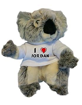 Koala personalizada de peluche (juguete) con Amo Jordan en la camiseta