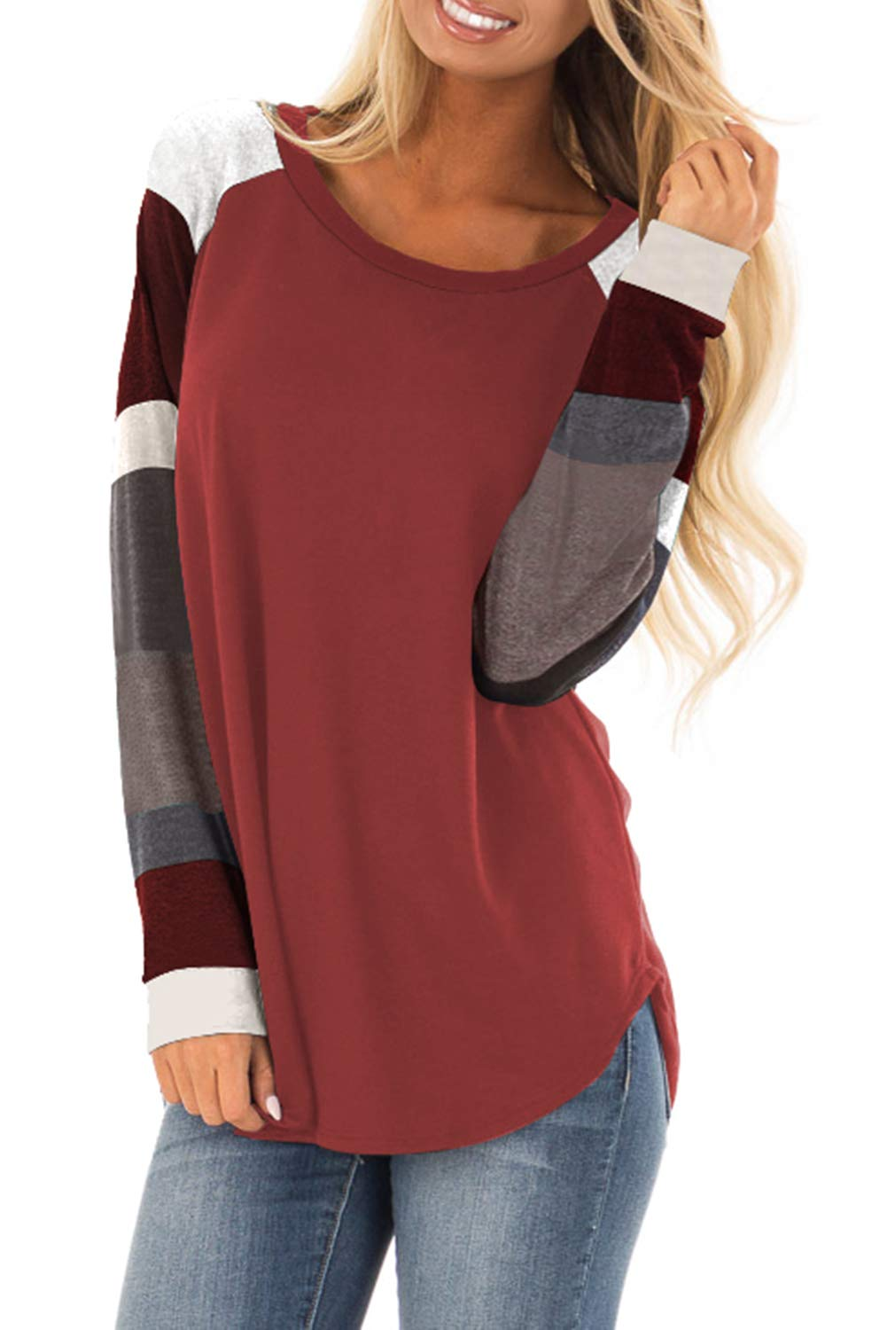 Lovezesent Women's Plus Size Crewneck Color Block Long Sleeve Blouses Tops Raglan Sleeve Loose Tunic Shirts for Juniors Red XL