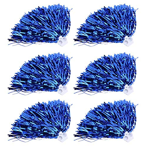 T-best Cheerleader Pom Poms 6pcs Cheerleading Poms Metallic Foil Pom Poms Squad Cheer Sports Party Dance Useful Accessories (Blue)