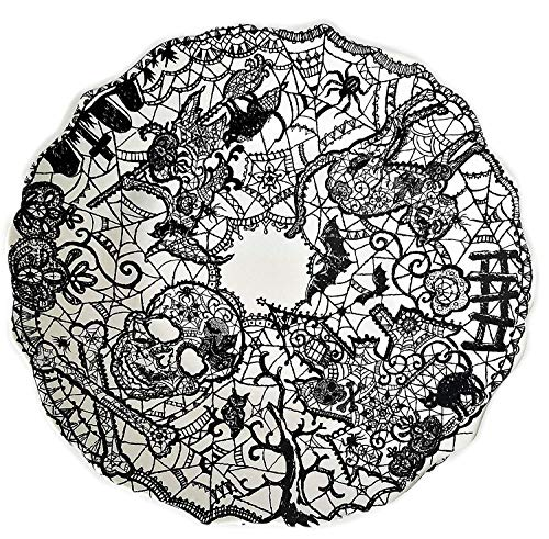 222 Fifth WICCAN LACE Halloween Black Salad Plate Set Of 4 -