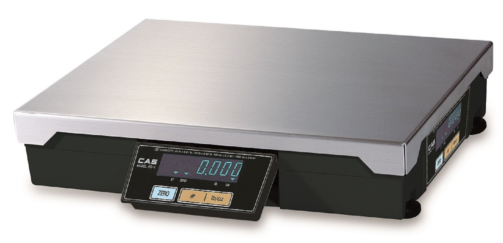 CAS PD-2 POS/Checkout Scale, LB & OZ Switchable, 30lb Capacity, 0.01lbs Resolution Single Range, Legal-for-Trade