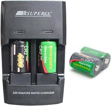 SUPEREX® 4 pièces rechargeable 3V 400mAh CR2 15270 Batteries