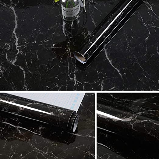 Amazon Com Yizunnu Vinyl 3d Black Marble Self Adhesive Contact