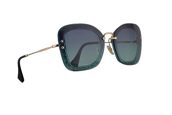 e22b4aaae6d3 Image Unavailable. Image not available for. Color: Miu Miu MU02TS Sunglasses  Transparent Emerald Green Glitter w/Azure Gradient Dark Blue 65mm Lens